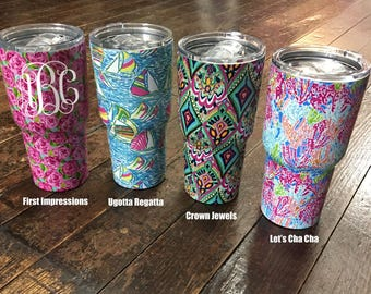 lilly pulitzer pattern 30 oz stainless steel rambler tumbler with custom monogramsorority letters