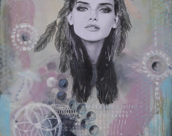 Large acrylic painting,feather,face,women,modern,green,dream catcher,circles,black,white,rose,blue,Collage by Beate Frieling