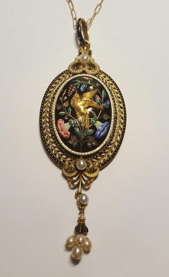 Garrard 18k Gold Victorian Mourning Pendant circa 1880, Original Fitted Box