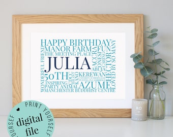 50th Birthday Gift - Word Art - 50th Birthday Gift for Women - Personalised Prints - 50th Birthday Gift for Men - Husband Gift - Mens Gift