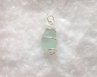 Aqua seaglass necklace // seaglass pendant // Yorkshire sea glass // sea glass jewlry // wrapped sea glass //