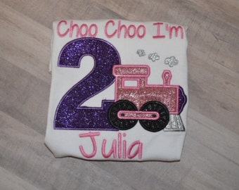 Girls Choo Choo I'm 2  Shirt