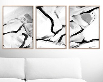 Abstract Art Print Set, 3 Black & White Abstract Art, Printable Abstract, instant download, Minimal art, 11x14 Prints, Gallery wall prints