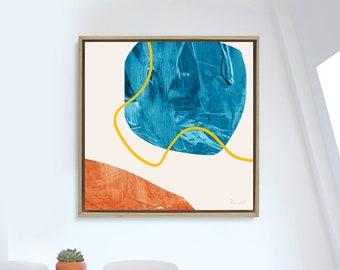 Printable Abstract Art, Navy Blue and Orange, instant download art, Large Abstract Art, Dan Hobday, modern art, 40x40 art, living room art