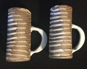 Pair of Slab Built Studio Pottery Espresso Cups Shot Glasses Signed 1985