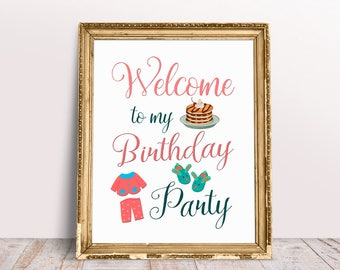 Pancakes and Pajamas Welcome Sign, Pancakes and Pajamas Birthday Sign, Welcome Birthday Sign, Breakfast WelcomeSign