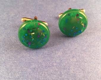 SALE! Confetti Lucite Round Sparklite Cufflinks