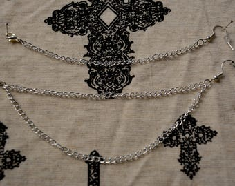 Chain silver nose to ear/ nose to lip chain