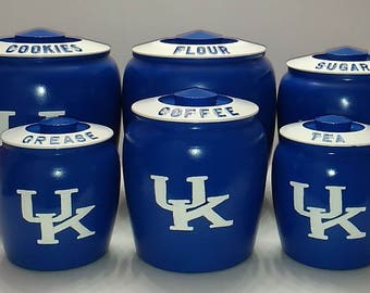"""University of Kentucky Kromex Canister Set, Kentucky Wildcats,  """"Only Set I Have Won't Have Another '' Fathers Day Gift''"""