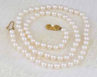 Mikimoto Pearl Necklace with 18k Yellow Gold Filigree Clasp