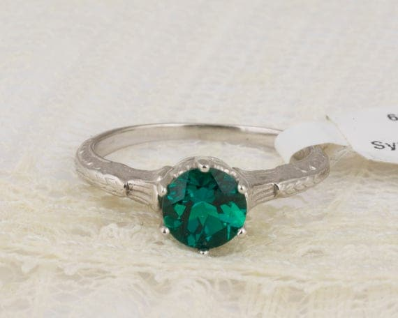 Vintage Style Lab Created Emerald Ring in White Gold Filigree Crown // Kashmir Created Round Emerald Engagement Ring