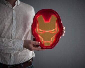 Iron man helmet light Iron man lamp Iron man night light Iron man helmet decor Dimmer night light Iron man wall art Iron man gift