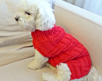 Dog Sweater, Hand Knit Dog Clothes for Small Dogs by BubaDog