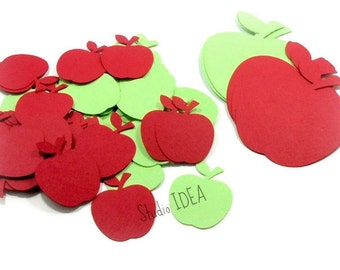"""1.5"""", 3"""" Apple Cut-outs - Mixed Apple Green and Red Apple Cutouts,Confetti- or Choose Your Colors & Size"""