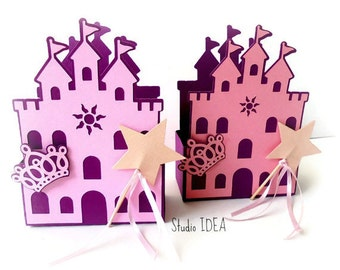 10 Princess Castle Favor Box - Basket style Box with Crown & Star wand -Choose your Colors- Set of 10 pcs