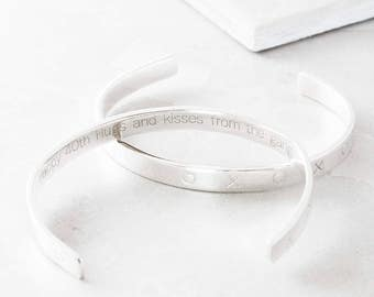 Personalised hugs and kisses silver bangle, bespoke bangle, women's bracelet, silver bracelet, hugs and kisses bracelet