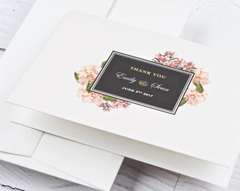 Wedding Thank You Card, Floral, Blush - SAMPLE