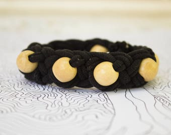 Black Recycled T-Shirt Braided Bracelet with Wooden Beads