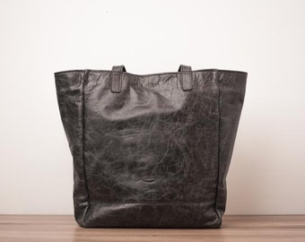 Leather shopping bag, leather carryall bag - The Beach