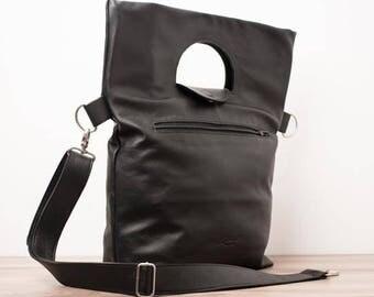 Leather shopping bag, leather carryall bag, carryall bag - the BELLEVILLE