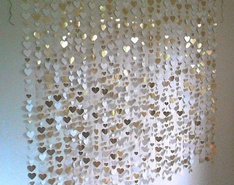 Gold Heart Backdrop - wedding photobooth backdrop, photography backdrop, garland, photo booth, gold wedding backdrop