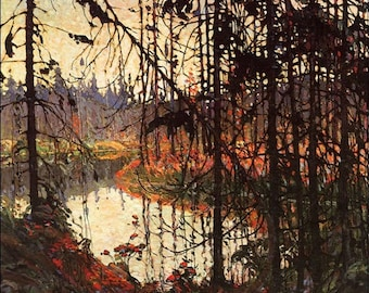 Northern River by Tom Thomson hand-painted oil painting reproduction, Twilight Forest Landscape,Living Room Wall Art,office wall decoration