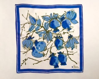 Bold and Beautiful Blue Pomegranate Branch Square Vera Scarf