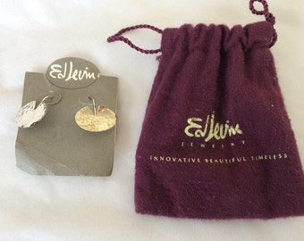Ed Levin Sterling Silver Lily Pad Earrings