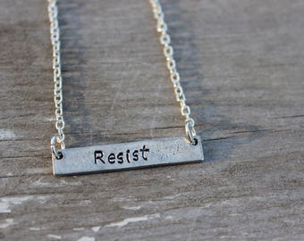 Resist Bar Necklace - Hand Stamped Pewter Resist Bar Necklace - Resist Necklace - Love Trumps Hate - Resist Jewelry - Stamped Metal Necklace