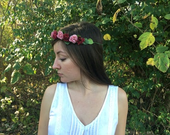 Burgundy and Pink Rosette and Lisianthus Flower Crown