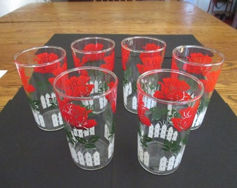 Vintage Red Rose Drinking Glasses Tumblers White Picket Fence mid century set of 6 vintage red kitchen retro kitchen red flowers