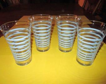Vintage Blue Stripe Drinking Glasses, Tumblers, Summer Glasses, mid century, nautical glasses, pool party, vintage glassware. mid century