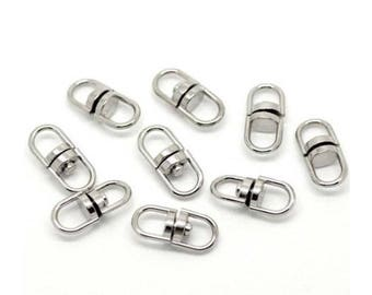 50 Silver Tone Metal Swivel Key Ring Connectors. Jewelry Making, Accessories, Craft Supplies.