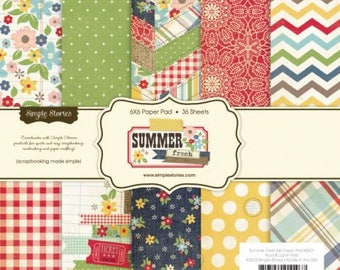 Simple Stories - Summer Fresh - 6x6 Paper Pad / Floral, Chevron, Dot Paper Pad