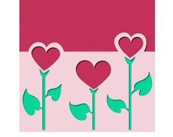 Love Forever Grows Valentines Day Card , Blank inside , Free Confetti , Spouse , Hearts , Flowers , PaperCut