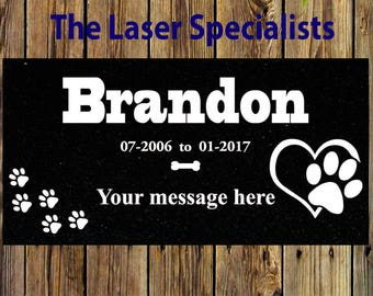 8x4 Custom Personalized Pet Headstone, tombstone Laser Engraved on the Grave Marker Granite, dog monument, dog plaque