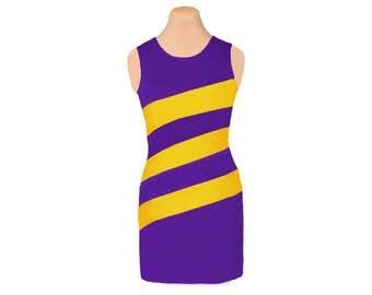 Purple + Bright Gold Diagonal Stripe Dress