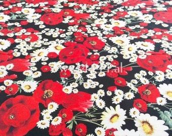 Daisy and poppy black light chiffon fabric #2147