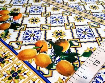 Lemon majolica jacquard fabric #5745
