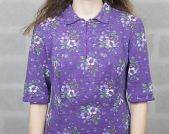 Zip Front Violet Floral Dress