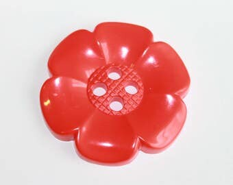 Red Huge flower button, 65 mm flower button, chunky 4 hole decorative flower bright red color flower, lot of 2 massive flower buttons