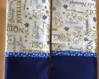 Noel, Seasons Greetings, Merry Christmas, Feliz Navidad Pillowcases. Blue. Silver. Gold. Get ready with decorative pillowcases.