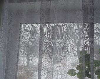 "Vintage Cafe Curtain; ONE Lace Curtain H33"" x W28"" Kitchen Curtain; White Polyester Lace Cafe Curtain with Floral Motif; Vintage Curtain"