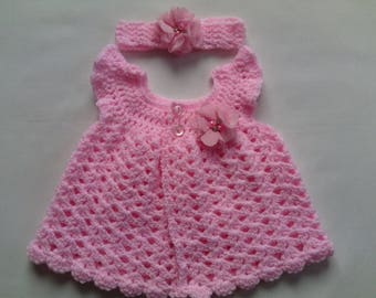 Crochet Baby dress and headband pattern tutorial PDF file
