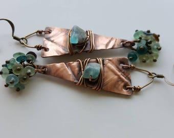 Ancient Roman Glass Earrings.  Fold Formed Copper.  Flame Torched Copper Earrings.  Apetite Earrings.  Gemstone Earrings.  Rustic Copper