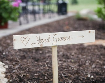 Custom hand lettered wooden signs for wedding or event