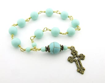 Mini Rosary Beads - One Decade Handmade Wire Wrapped Mint Green Turquoise Rosary Beads Tenner- Unbreakable Brass Rosary - Catholic Gift