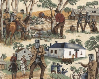 Ned Kelly Fabric, Novelty Fabric, Australian Fabric, 1/4 metre of more, quilting fabric online Australia