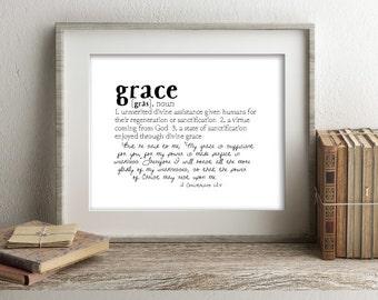 GRACE Defined Series Printable Art, 2 Corinthians 12:9, Definition Print, Affordable Home Decor, Scripture, Typography, Minimalist Art