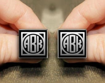 Personalized Black Silver Plated Square Cufflinks / Custom 3 Letter Circle Monograme Engraved